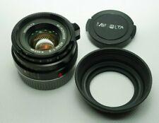 Minolta CLE M-Rokkor 40mm F2 40/2 Lens Leica M Mount w/ Hood Full CLA