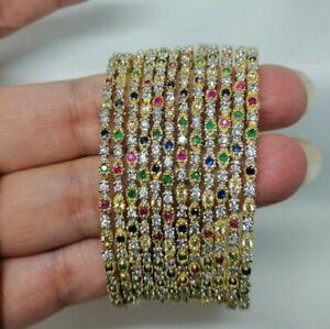 Indian Pakistani 12 Piece Gold Bangle Set With Multi American Diamond 2.4