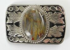 VINTAGE BELT BUCKLE~WESTERN (TEXAS) WITH POLISHED CENTER AGATE STONE~Silver Tone