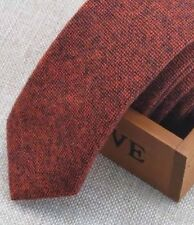 New Rusty Brown Tweed/ Wool Skinny  Tie. Great Reviews. Uk Seller 6cm Wide.