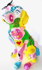 DOG Statue Art Collectible . UNIQUE Multi-Color on Ceramic . NEW RARE to FIND