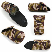 Camouflage Neoprene Lens Case / Pouch for Sony E 55-210mm F4.5-6.3 Lens