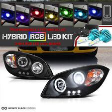 05-10 Chevy Cobalt Pontiac G5 Black Dual CCFL Halo Projector Head Lamp+RGB Bulbs