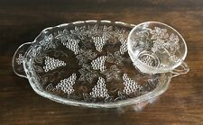 Clear Glass Serving Snack Tray w/ Tea Cup (Grape Pattern)