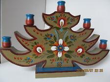 Handpainted Noewegian rosemaling wooden tree candle holder