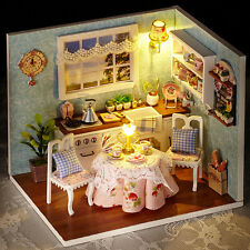 Dollhouse Miniature DIY Kit With Cover & Wood Toy Dolls Kitchen/Living Room #1