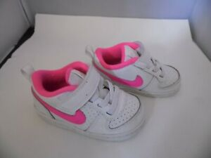NIKE INFANT BABY GIRL TRAINERS WHITE/PINK TODDLER SIZE UK 4.5