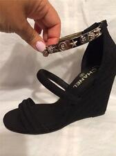 CHANEL 14P Charm Ankle Bracelet Strap Quilted Wedge Heel Sandal Shoes Blck