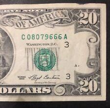 $20 DOLLAR BILL, 1993 Series , fancy 3-6's ending SN: C 08079666 A