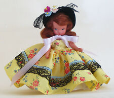 NANCY ANN STORYBOOK DOLL ADORABLE 1940s in YELLOW TAFFETA DRESS & BLACK BONNET