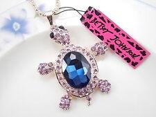 Betsey Johnson cute inlaid Crystal Rhinestone turtle pendant necklace # F054Y