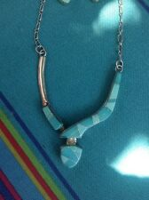 Jon Peters Inlay Turquoise And Sterling Silver Zuni Necklace & Earring Set