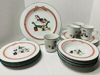 15 pc Anchor Hocking Christmas 'Holiday Memories' Dinnerware Plates Bowl Serving