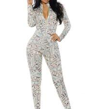 Forplay Women's Money Print Zipfront Catsuit, Cream, Small/Medium