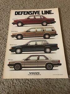 Vtg 1988 VOLVO 240 DL SEDAN 760 TURBO 740 GLE WAGON 780 COUPE Car Print Ad 1980s