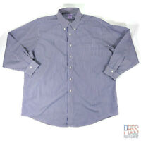 Brooks Brothers Mens 18 Long Sleeve Button Down Cotton Non-Iron Striped Blue