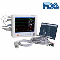 "8"" ICU CCU Vital Sign Patient Monitor 6 parameter ECG NIBP RESP TEMP SPO2 PR FDA"