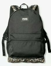PINK Campus Backpack School in Black with Leopard Print