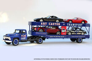 Automodello Art Castor's 1950's Ford Truck & Hauler 1:43 Blue LE 43F600