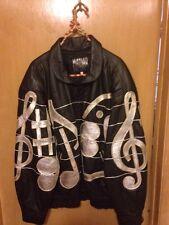 Men's Maziar Vintage 80s Leather Musical Note Jacket Size Large