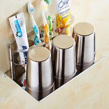 Bathroom Toothbrush Holder Tumbler Cups Bath Storage Hanger Shelf Wall Mounted