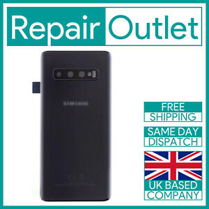 Samsung S10 G973F Replacement Rear Battery Cover Back Glass (Black) Inc Lens UK