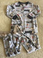 Carters Boys Blue Gray White Dogs Fleece Long Sleeve Pajamas 4T