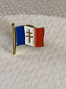 Pin's Métal Argenté Croix De Lorraine Drapeau France Tricolore