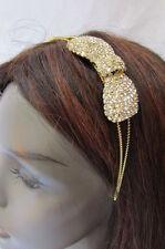 Women Headband Hair Thin Gold Metal Fashion Big Bow Accesories Classy Look Bling