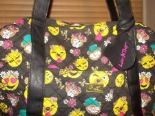 Betsey Johnson Quilted Black Emoji Weekender large Travel Tote Bag & charm tag