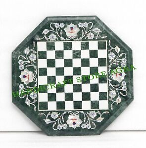 Green Marble Chess Table Inlay with Semiprecious stone with Chess figure & stand