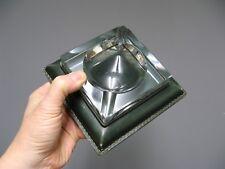 Ancien cendrier en cristal et cuir Belliard Crigthon. Marine. Art Déco.