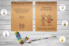 Personalised Childrens Wedding Activity Pack Book Favour Rustic Vintage Ab12