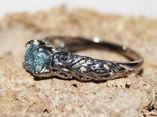 Natural Green Blue 0.53+ ct Raw Diamond Rough Uncut diamond ring 925 silver #056