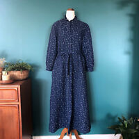 VINTAGE Navy Blue Floral Quilted Maxi Dressing Gown Robe House Coat Size 14-16