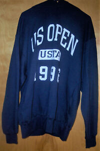 VINTAGE OFFICIAL US TENNIS OPEN USTA NAVY SWEAT SHIRT HOODIE NEW TAG LARGE 1996