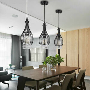 Indoor Crystal Celling Fan Fixture Modern Hanging Kitchen Island Pendant Light