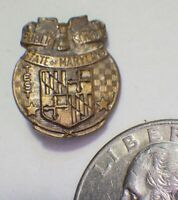 """Small Vintage STATE OF MARYLAND PUBLIC SCHOOLS TEST 1 Brass Award Pin 5/8"""""""