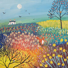 Twighlight Over Summer Meadow Square Blank Greeting Card by Artist Jo Grundy