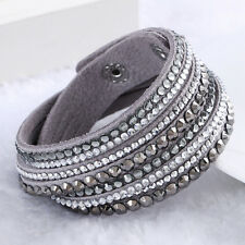 1x Fake Leather Wrap Wristband Cuff Punk Crystal Rhinestone Bracelet Bangle Grey