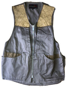 10-X brand Canvas Vest with Game Bag vtg Made USA Men's size 38 Leather Patches