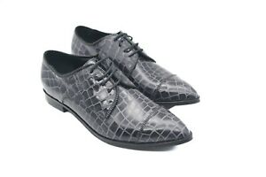 LucyToni Oxford Brogues Dark Grey Pebble Effect with Laces