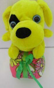 "Sugar Loaf Creations 8"" Plush Yellow Puppy Dog Stuffed Animal Daisy Print Gift"