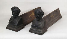Antique French Cast Iron Firedogs Chenets Male Busts
