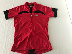 Louis Garneau Womens Small 1/4 Zip Red/Black Cycling Jersey Shirt TS0