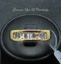 9ct Gold Channel set Tapered Baguette cut White Sapphire Band Ring Sz N 1/2 3g
