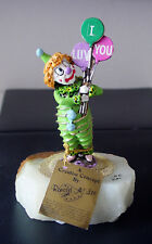 '85 Ron Lee Clown w I Luv You Balloons Enamel 24K Gold Onyx Figurine Sculpture
