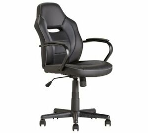 Argos Home Faux Leather Mid Back Gaming Chair - Black