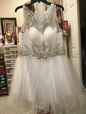 Cocktail Prom Appearance Dress Rhine stone, Size 16, white