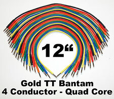 """24 New Gold TT Bantam 12"""" Quad Core Patch Cables Cords 1 Foot Leads 4 Conductor"""